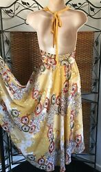 Vintage Womens Floral Sheer Overlay Handkerchief Halter Dress Tie-Neck Back-Out