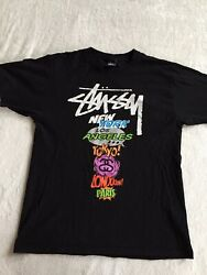 Vintage Stussy new york los angeles tokyo shirt size medium black colorful Rare