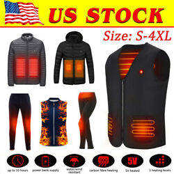 Electric Vest Heated Jacket trousers USB Thermal Warm Heat Body Warmer Unisex US