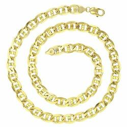 14K Yellow Gold Solid 7mm-10mm Concave Mariner Link Chain with Lobster Claw