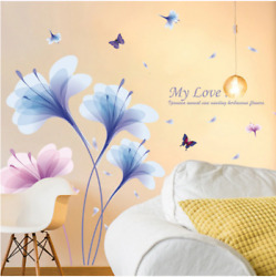 Orchids Flowers Large Wall Stickers Flowers Art Decals Wallpaper Removable 60*90 $16.90