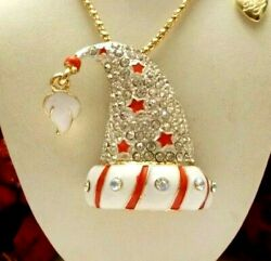 BETSEY JOHNSON CUTE RED TRIM CRYSTAL AND ENAMEL SANTA HAT PENDANT NECKLACE $24.99