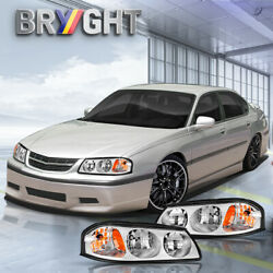 For 2000-2005 Chevy Impala Chrome Headlights Replacement Kit Left+Right Assembly $73.99