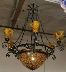 CHANDELIER  ART DECO STYLE 9 LIGHTS WROUGHT IRON WITH BLOWN GLASS SHADES
