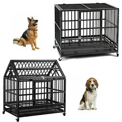 36quot; Heavy Duty Dog Cage Pet Crates with Wheels Removable Tray Steel Dog House $139.99