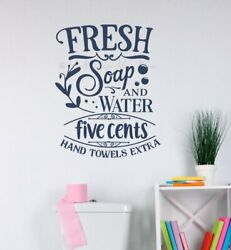 Bath Wall Decorations Soap Water 5 Cents Bathroom Wall Art Decals Letter Sticker $18.83