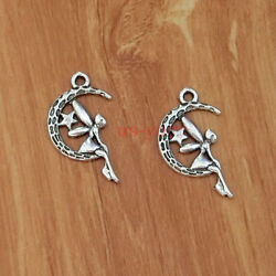 30 Moon Fairy Charms Fairies Angel Charm Antique Silver Tone 2 Sided 25x15 0231 $4.00