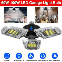 LED Garage Light Bulb Deformable Ceiling Fixture Lights Workshop Warehouse Lamps