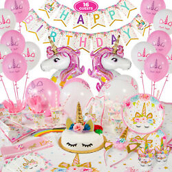 Unicorn Party Supplies Serves 16 Complete Birthday Decorations Set $27.95