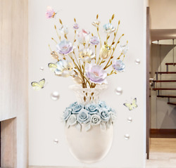 Vase Flower Wall Stickers Flowers Butterfly Wall Art Decals 60x90cm Home Decor $21.80