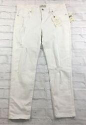 Lucky Brand Womens Brooke Capri Jeans White Mid-Rise Stretch Size 29 $99