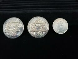 ANTIQUE ANTIQUE JEWISH STAR OF DAVID CUFFLINKS SIGNED Hecho 925 STERLING SILVER $59.99