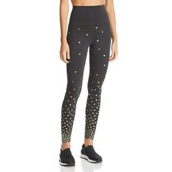 Beach Riot Womens Heart Black Metallic Printed Athletic Leggings XS BHFO 7233