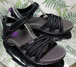 TEVA BLACK STRAPPY OPEN TOE SPORT SANDALS ANKLE STRAP SHOES US WOMENS SZ 9.5