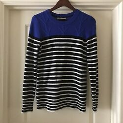 GAP Womens Striped Blue Black White Long Sleeve Sweater Size Medium