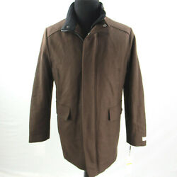 $295 Calvin Klein Brown Wool Blend Car Coat Jacket Mens Medium NEW