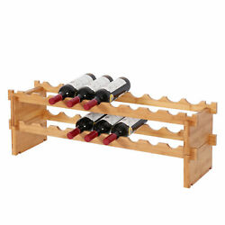 18 Bottle Bamboo Wine Rack Countertop Bottle Holder Table Top Wooden Storage