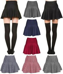 Womens Basic Winter Knit Stretchy Sexy Flared Skater Skirt $14.95