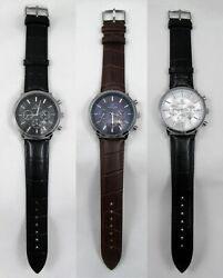 London Mens Leather Chrono Watches Watch Men#x27;s NEW FREE SHIP $9.99