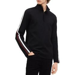 Calvin Klein Mens Black Striped Ribbed Pullover Sweater Top XL BHFO 8014