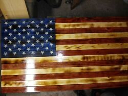American Flag Wooden Rustic Handmade Large 37
