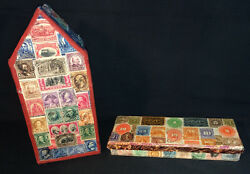 2 Stamp Covered Boxes Stamp Decorated Artist Signed $30.00