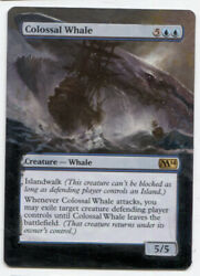 Colossal Whale ALTERED ART  MTG Magic Hand Painted Commander EDH