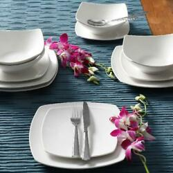 12-Piece Square Dinnerware Set Dinner Dessert Plates Bowls Ceramic White Dishes $33.40