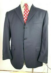 Burberry London Mens Size 46L Charcoal Gray Pinstripe 3 Button Suit Jacket