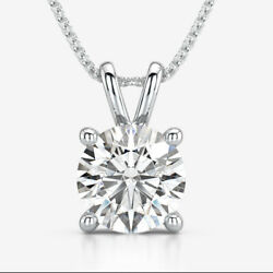 ROUND DIAMOND NECKLACE VS2 1.6 CT SOLITAIRE FOUR PRONG 14K WHITE GOLD AUTHENTIC