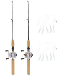 2pcs Ultralight Mini Ice Fishing Rods Reel Telescopic Casting Baitcasting Pole L $20.19