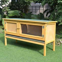 Raised Outdoor Small Animal Backyard Habitat Wood Hutch Weather Resistant Cage $119.99