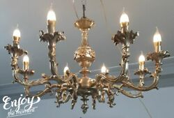 Gorgeous French Empire Chandelier Refinished Brass Bronze Vintage 8 light E14