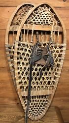 Vintage Snowshoes handmade moose sinew webbing Bear paw style leather bidding $235.00