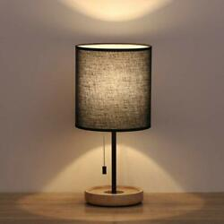 HAITRAL Wooden Table Lamps Black Bedside Desk Lamp with Black Lamp Shade