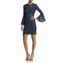 Tadashi Shoji Women's Sequined Lace 34 Bell Sleeve Fitted Mini Dress