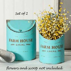 Turquoise Kitchen Bins Metal 2 pc FARM HOUSE LOCAL Rustic Cottage $54.93