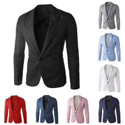 BG Stylish Men#x27;s Casual Slim Formal One Button Suit Blazer Coat Jacket Tops Sig $15.27