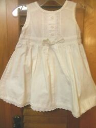 Baby Girls White Cotton Dress Beach Casual Formal 12MEyelet Lace Buttons  $15.99