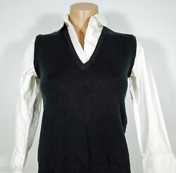 NEW YORK & COMPANY Pull Over Black Knit V-Neck Top with White Shirt size XS $5.82