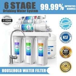 100GPD 6 Stage Alkaline Reverse Osmosis Drinking Water Filter System Purifier $133.99