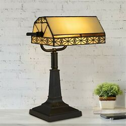 Bankers Lamp Tiffany Table Desk Lamp Stained Glass Vintage Look Mission Style $54.99
