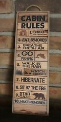 Rustic Cabin Rule Sign Bear Lodge Fishing Camping Man Cave Wood Plank Home Decor $16.95