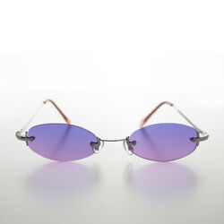Rimless Micro Frame Vintage Sunglass with Purple and Pink Rimless Lens Pixie $20.00