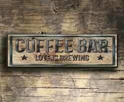 Coffee Bar Wood Sign Rustic Farmhouse Style Shelf Sitter Rustic Decor 8x3x1 8quot; l $15.99