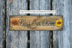 sunflowers Bless our Home country kitchen wooden 8x3quot; sign wood decor flower $15.99