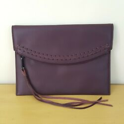 Rebecca Minkoff Brown Leather Clutch With Flowing Tassels $22.50