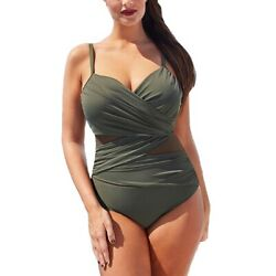 Sexy One Piece Swimsuits Women Mesh Patchwork Vintage Summer Bathing Plus Suits $15.85