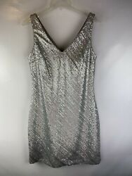 BANANA REPUBLIC SILVER SEQUINS Tank COCKTAIL EVENING DRESS Party Size 10 $37.00