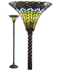 72quot; Tiffany Style Peacock Torchiere Lamp Tiffany Lamps Torch Floor Lighting NEW $185.95